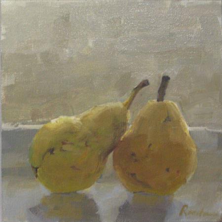 Reclining Pears 6x6 in, oil on linen, ready to frame, $175