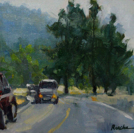 Oncoming Traffic, 6 x 6 in,  oil on linen. AVAILABLE.