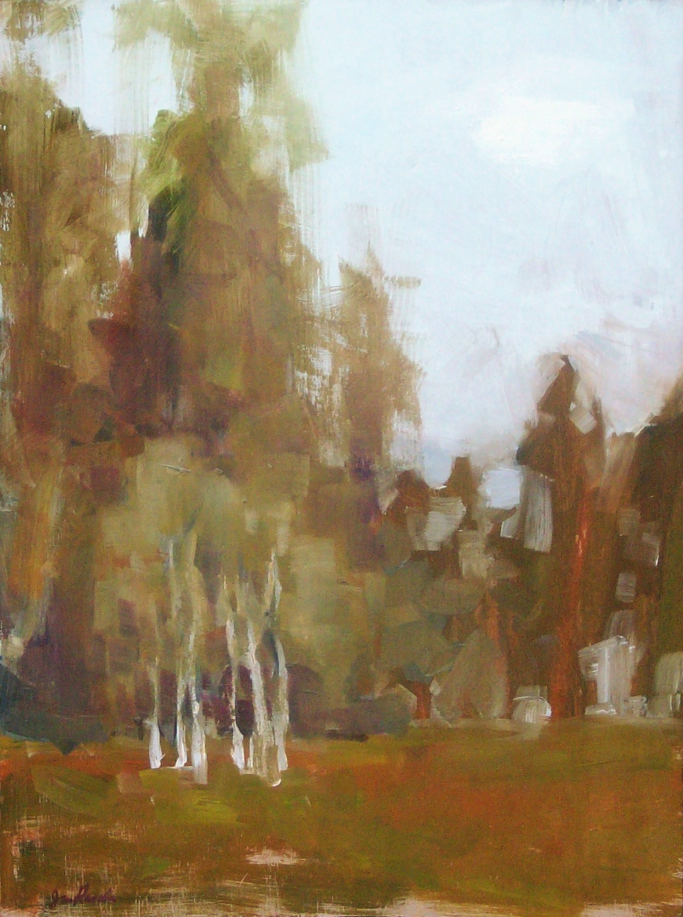 Neighbor's Trees II / approx 18x12 in / oil on wood / $900