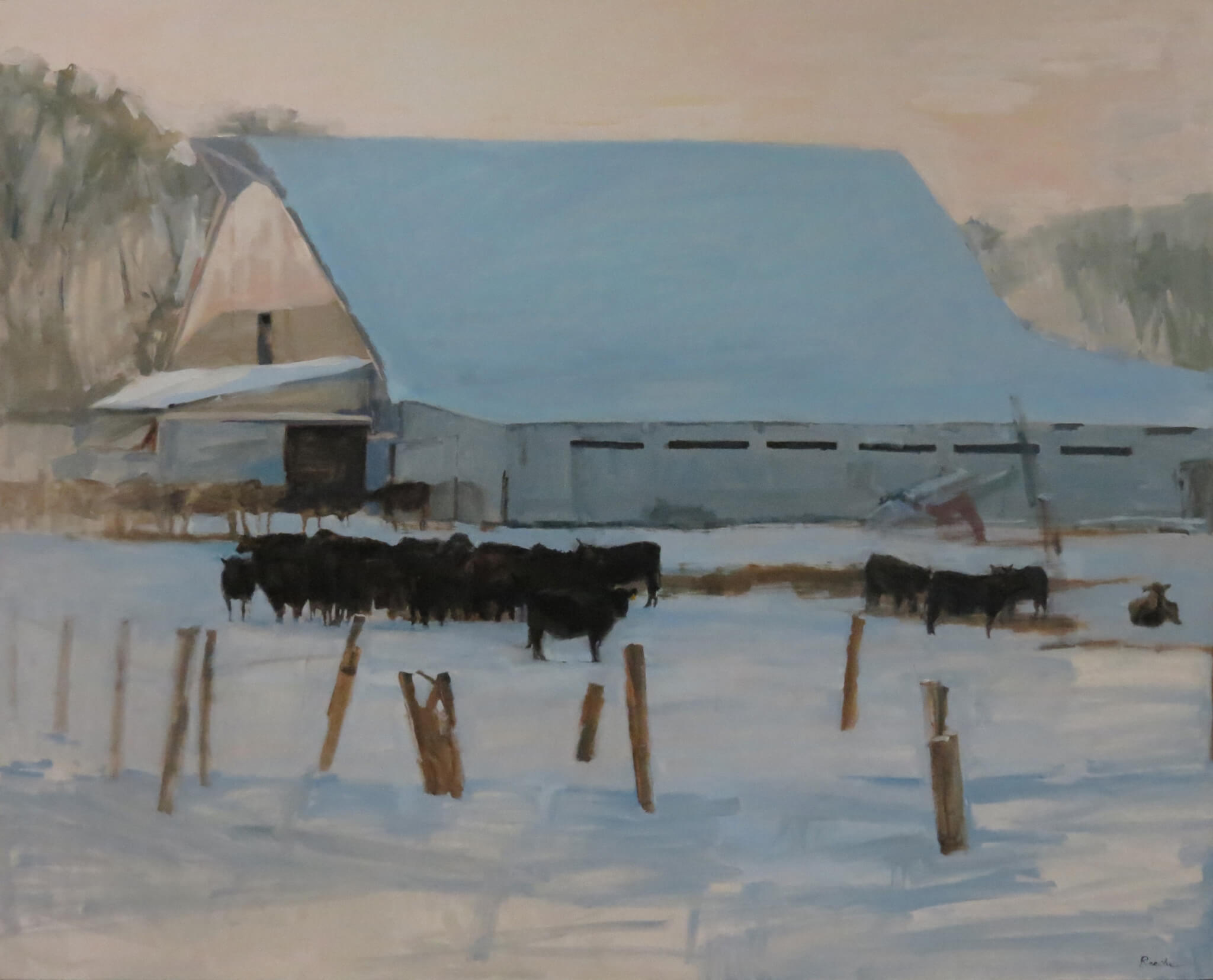 cow and farm painting