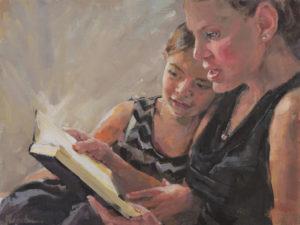 American portrait artist, mom and daughter portrait
